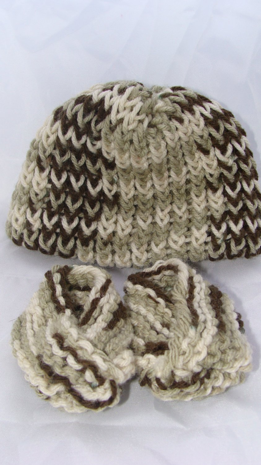Brown baby booties and hat set
