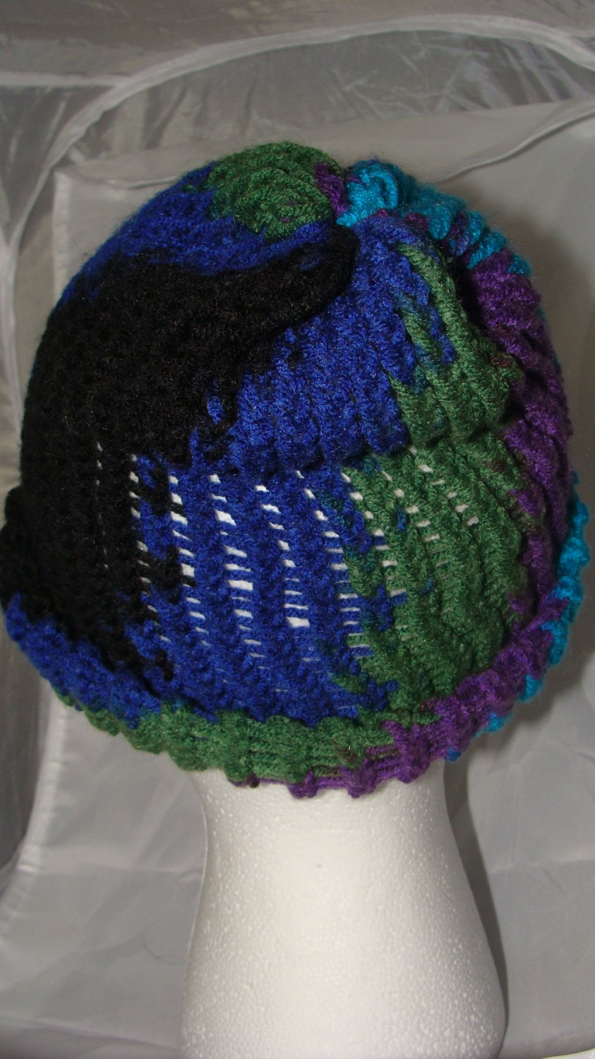 Adult teal, black, purple and green hat