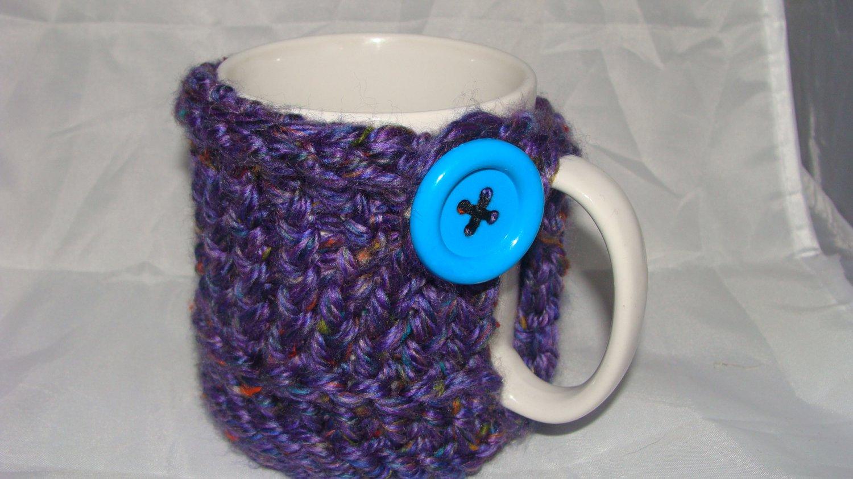 Purple koozie with blue button