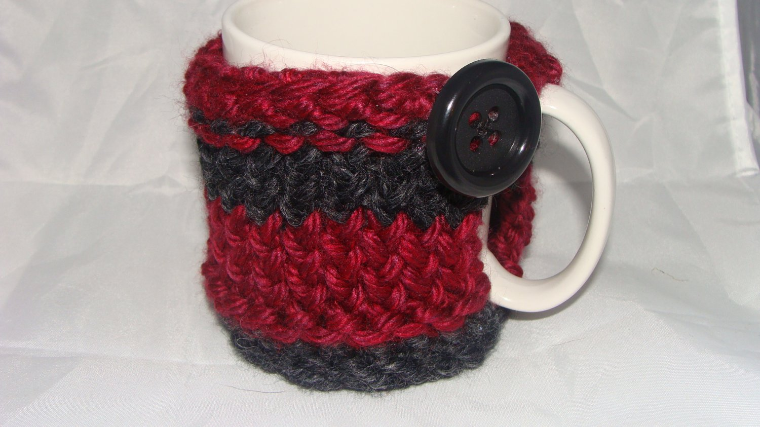 Grey/Maroon koozie with black button