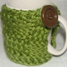 Green koozie with brown button