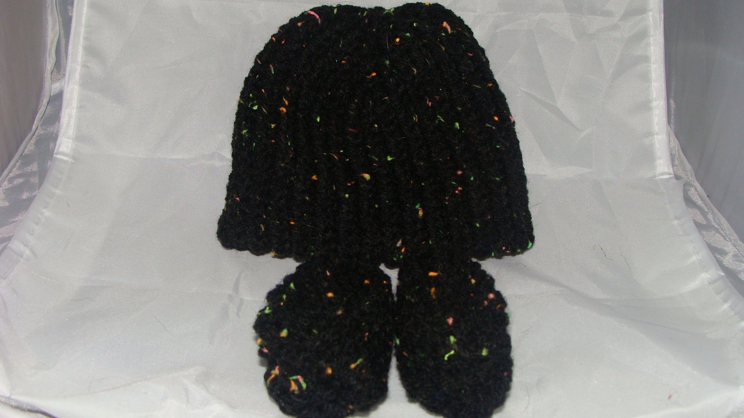 Black with color flecks baby booties and hat set
