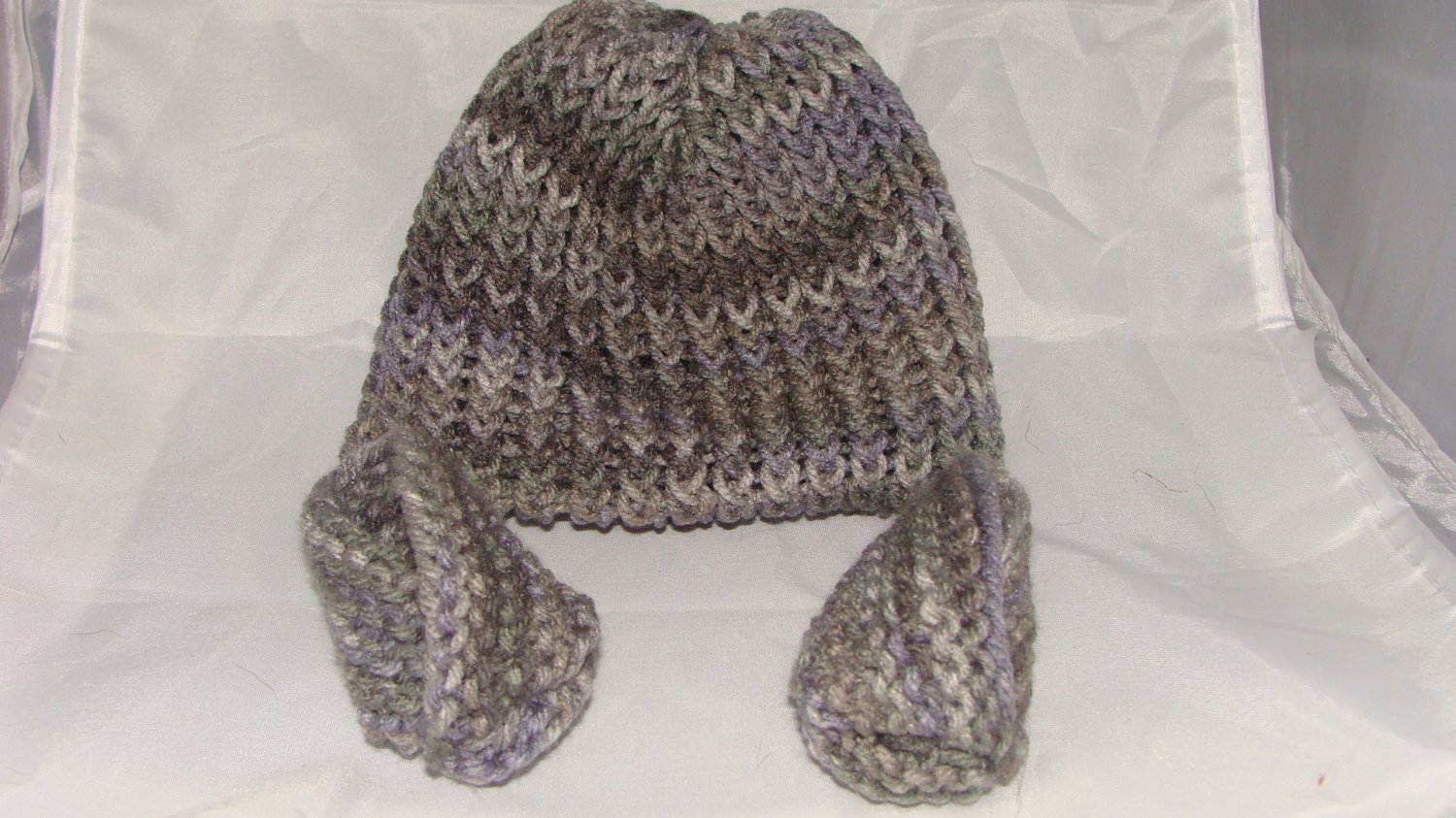 Grey baby booties and hat set