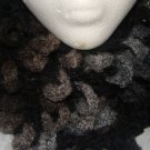 Adult black and grey loopy infinity scarf