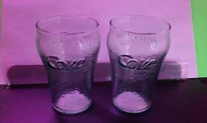 COCA-COLA COKE Pebble Textured Green Glass Tumblers 4 set 2 X large 2 X small