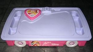 Disney Princess Toy Box Under the Bed Box Storage w/Wheels Drawing Table Mirror