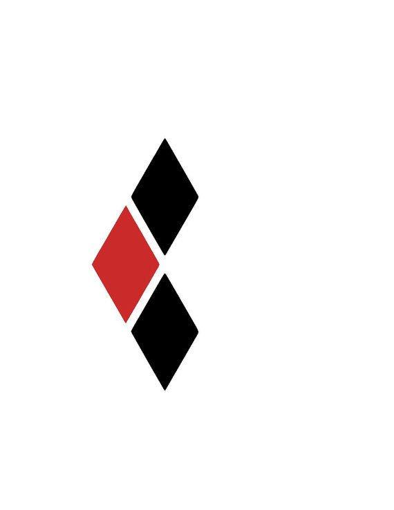 "Harley Quinn Diamond Car Decal - 3"" black and red - HQ Premium Car Decal"
