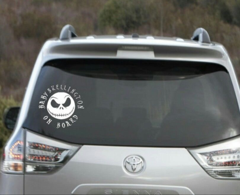 "Nightmare before Christmas baby skellington child on board decal 5"" round"