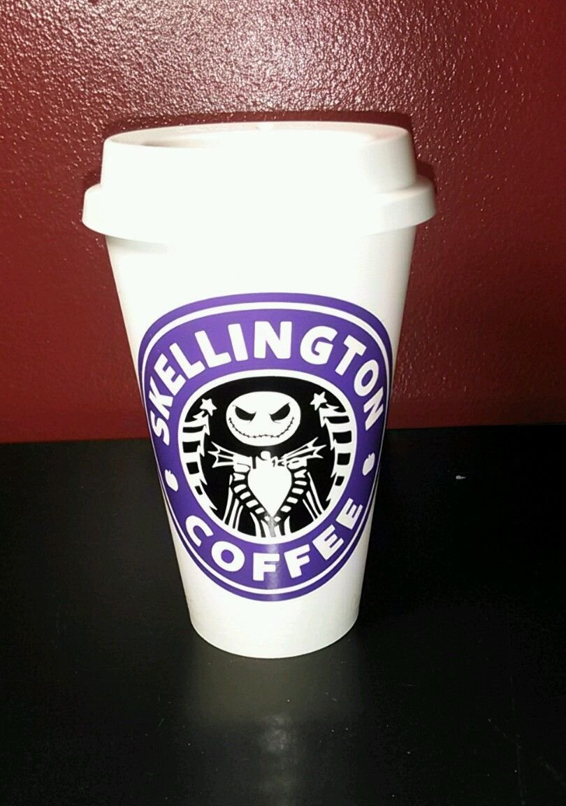 Nightmare Before Christmas Skellington Coffee plastic Travel Mug -Purple & Black