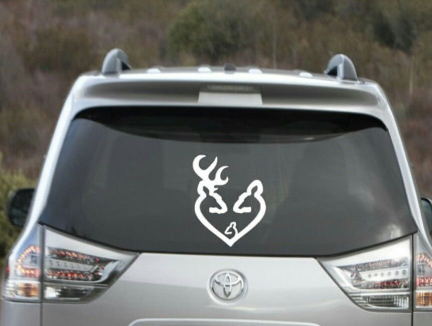 """Buck and Doe Love Heart Decal with baby Browning love decal 4.5"""" tall x 4"""""""