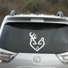 "Buck and Doe Love Heart Decal with baby Browning love decal 4.5"" tall x 4"""