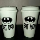 Bat Mom and Bat Dad Coffee - Batman Coffee Travel Plastic Reusable Travel Mug