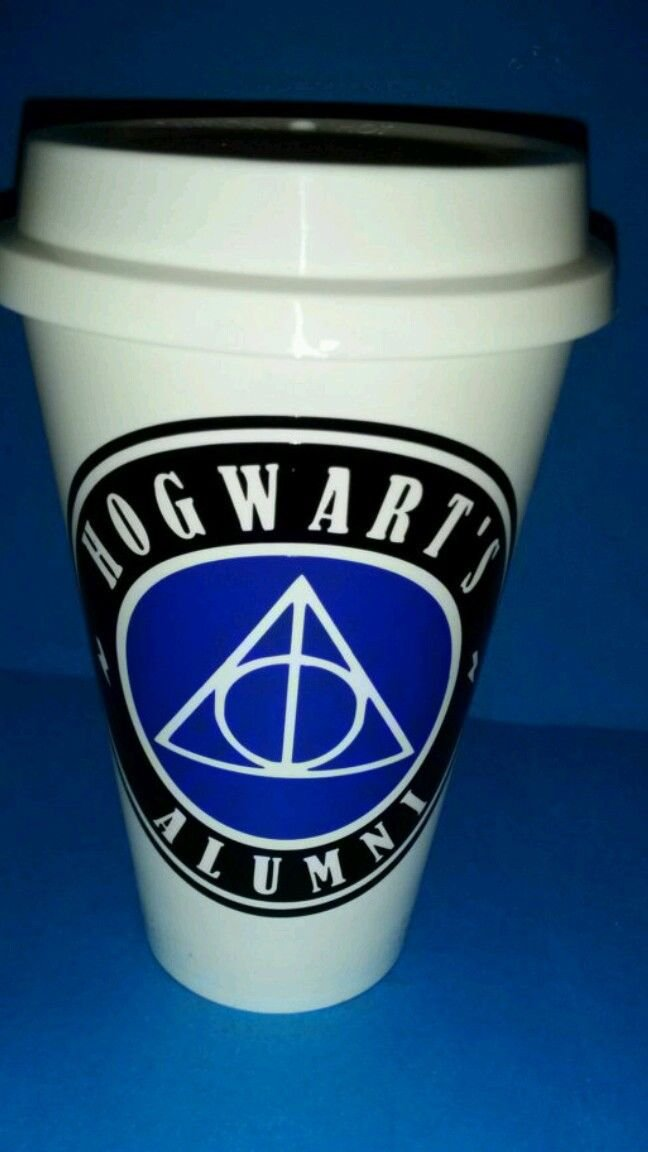 Harry Potter Hogwarts alumni plastic reusable coffee cup black and blue