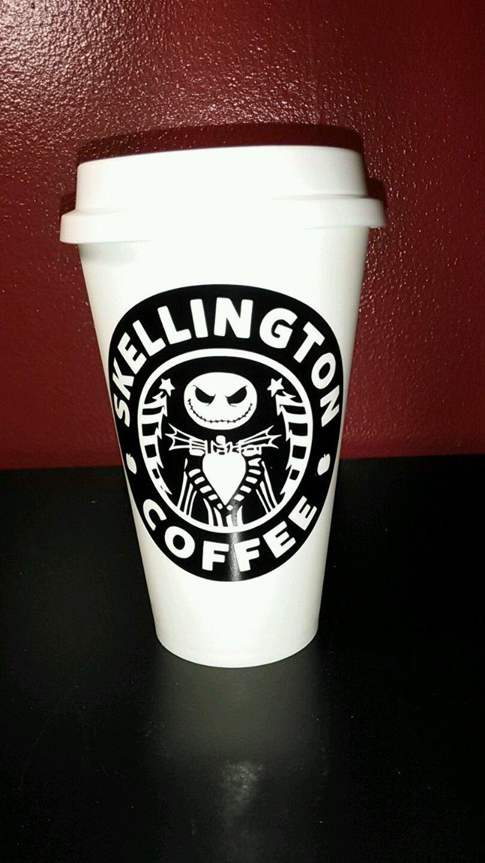 Nightmare Before Christmas Skellington Coffee plastic Travel Mug - White N Black