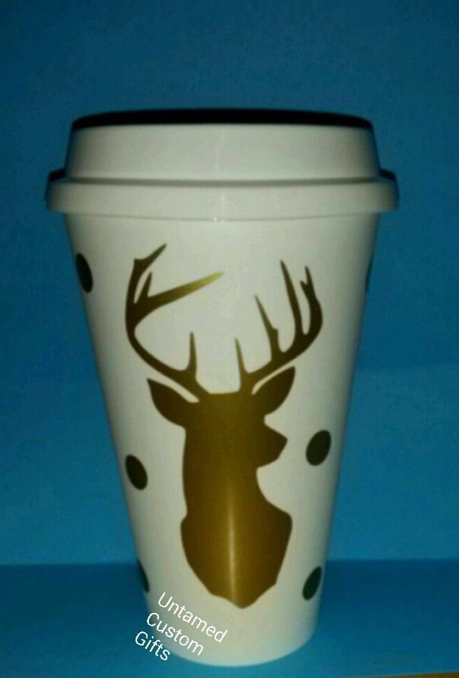 Buck Doe Coffee plastic Travel Mug - 16 oz lightweight Plastic - White N Gold