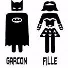Batman and Bat woman bathroom door decal - Garcon and Fille bath room decal