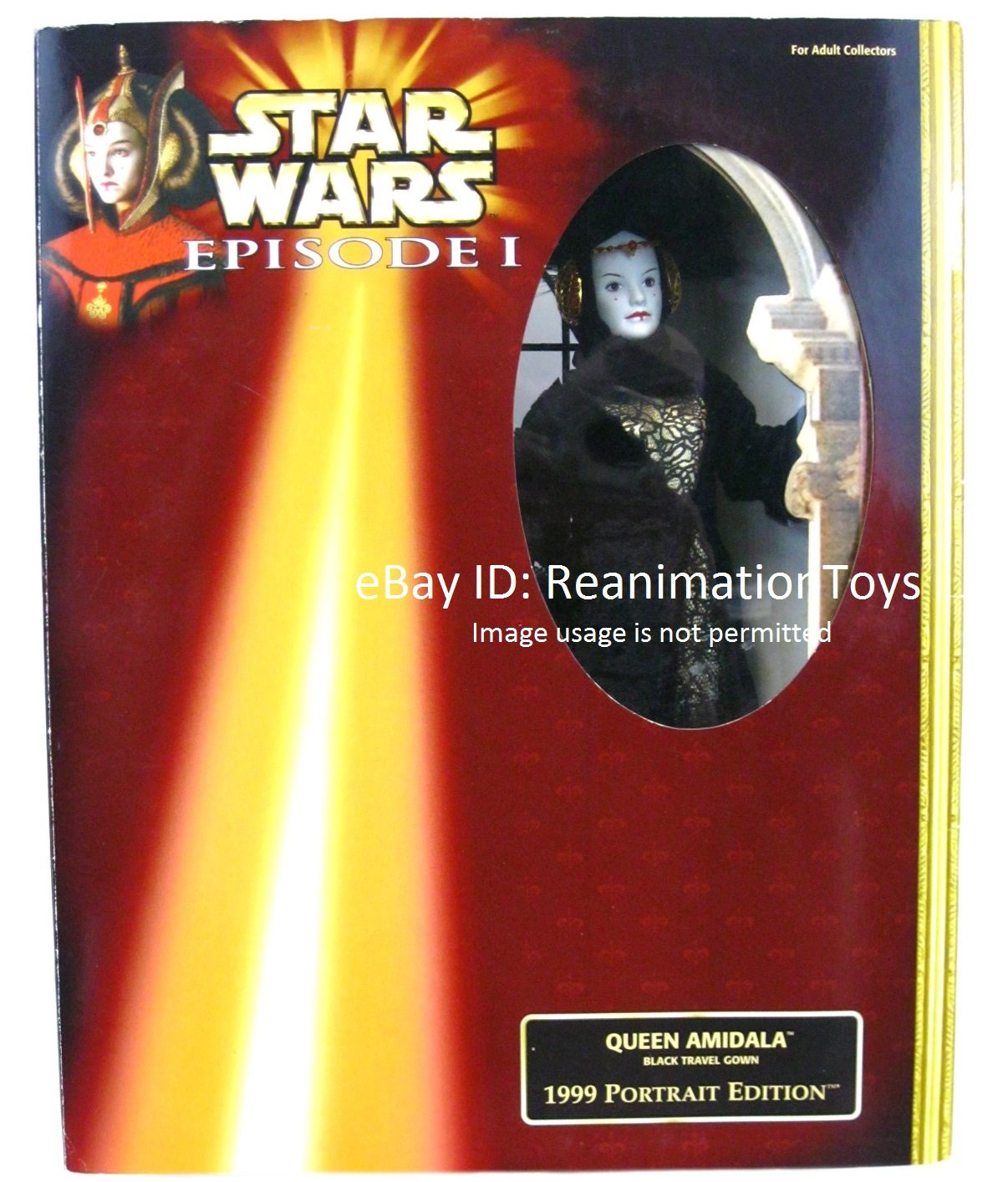 "Disney Star Wars Episode 1 Queen Amidala Black Travel Gown Portrait 12"" Doll New Sealed"