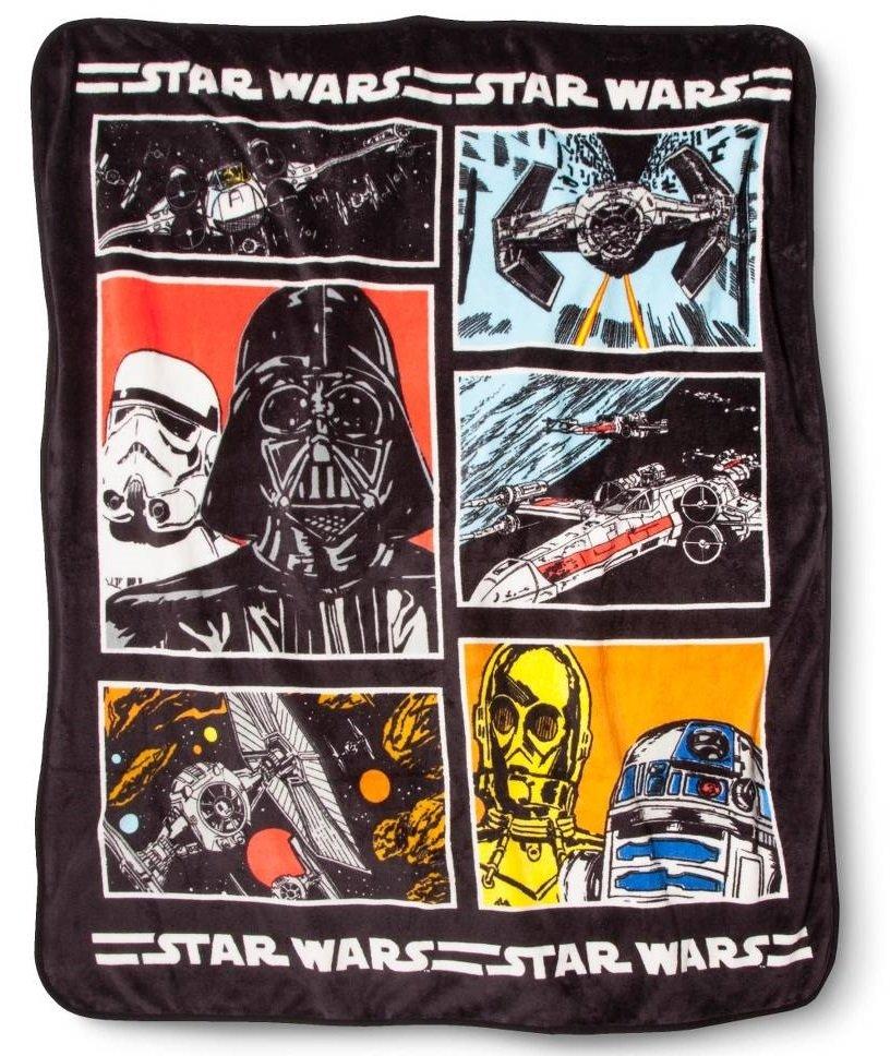 "Disney Star Wars Darth Vader R2-D2 C-3PO TIE-Fighter X-Wing Plush Throw Blanket 60""x50"" Brand New"