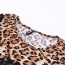 New Long Sleeve Lace Black Party Club Mini Leopard Dress Sexy Wear Slim Women #&