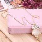 Fashion Women Girls Vintage Rhinestone Opal Owl Pendant Long Necklace Gift #A