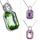 Hot Fashion Women European Style Crystal Square Shape  Zircon Necklace #N
