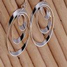Women's Jewelry 925 Sterling silver SP vintage Three Discs Dangle Earrings b#