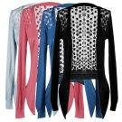 Womens Casual Long Sleeve Cardigan Hollow Knit Knitwear Sweater Outwear Coat HS