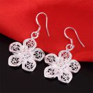 Women 925 Sterling Silver Vintage Flower Dangle Drop Hook Earrings Jewelry H5