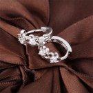 New Fashion Silver Plated Women Plum Zircon Elegant Ear Clips Earrings #R