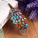 Vintage Womens Colorful Rhinestone Peacock Barrette Hairpin Hair Clip New #~