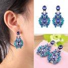 1 Pair Blue & Clear Crystal Rhinestone Ear Stud Party Earrings Women Gift HH