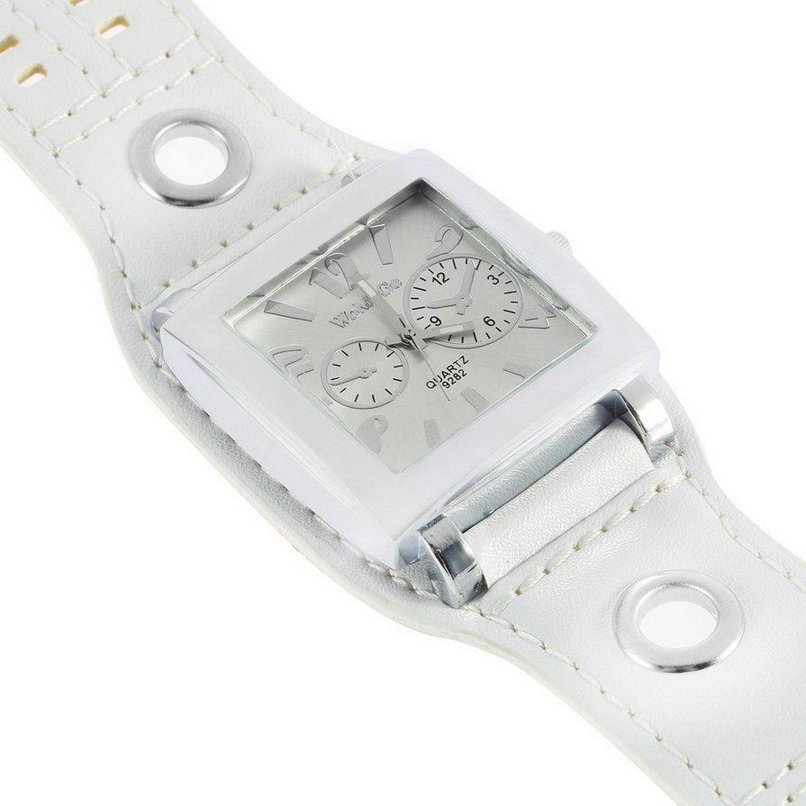 Women Girl Mens Sport Leather Quartz Movement WristWatch Watches Square Face #&