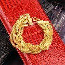 Fashion Women's Girl's Gold Twisted Alloy Chain Beautiful Bracelet HS