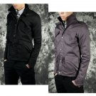 Korean Fashion Men Casual Jacket Slim Collar Drawstring Waist Top Coat HH