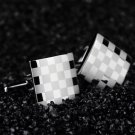 Stainless Steel Silver Vintage Men's Wedding Gift Classical Grid Cuff Links #h