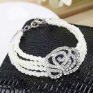 Women Elegant 4 Layer Crystal Rose Flower Pearl Bracelet fashion Stylish HS