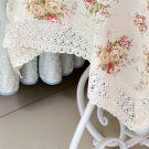 Square Floral Rose Flower Lace Tablecloth Dust Cover TV Fridge Cover Decor #A