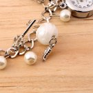 Ladies Tasteful Round Faux Pearl Band Bracelet Analog Quartz Wrist Watch @*