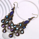 Women Bohemian Style Lady Long Pendant Vintage Retro Blue Peacock Earrings H5