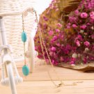 Women Simple Vintage Three Turquoise Stones Anklet Foot Link Barefoot Chain #B