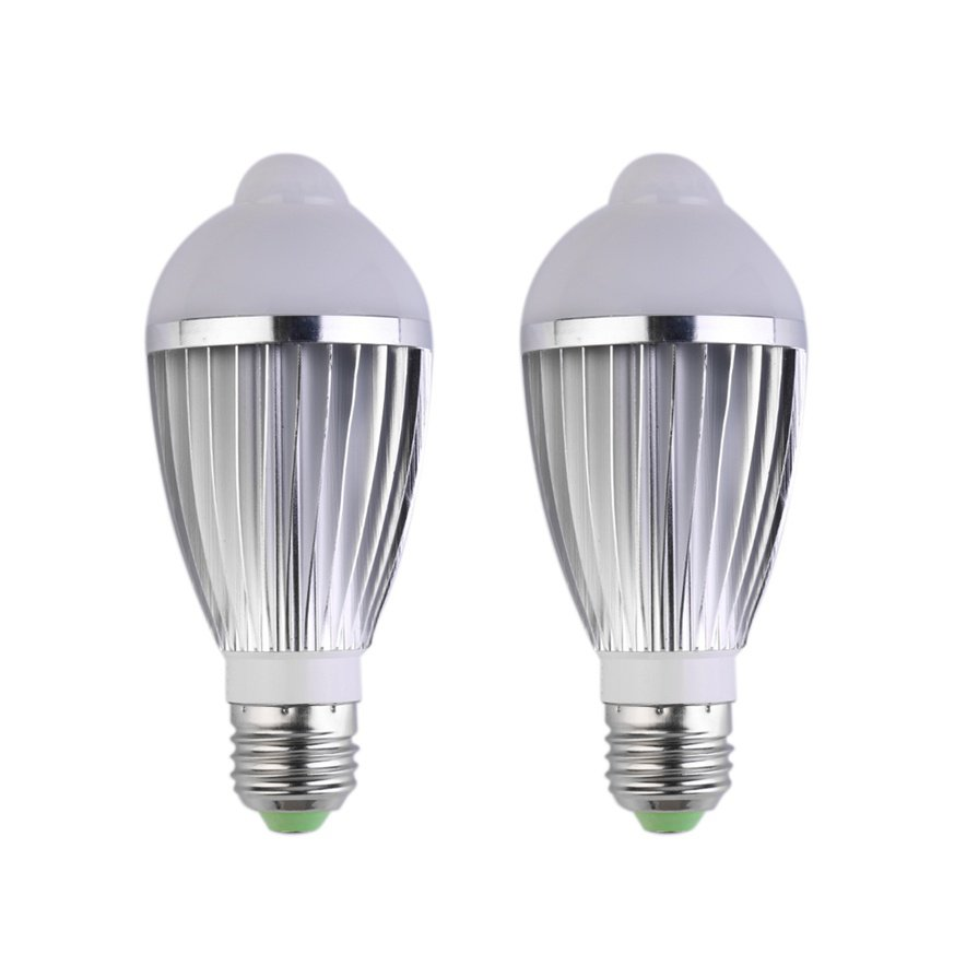 E27 7W LED Infrared PIR Human Motion Light Sensor Auto Detection Bulb Lamp #W