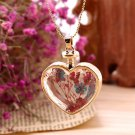 Women Girls Gold Peach Heart Dry Flower Glass Pendant Necklace Chain Gift H5