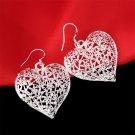 Women 925 Sterling Silver Vintage Hollow Heart Dangle Hook Earrings Jewelry H5