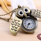 Hot Cartoon Retro Bronze Owl Pocket Watch Sweater Chain Necklace Slide Watch #&