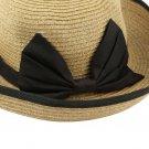 Women's Wheat Braid yellow Medium Multi Weave with a Bow Visor Hat B444 HH