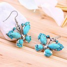 Butterfly Shape Green Turquoise Crystal Dangle Earring for Attending Party @*