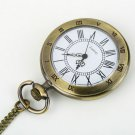 Antique Bronze Roman Numerals Chain Necklace Pendant Quartz Pocket Watch H2