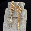 1 Pair Cube Shape Alloy Gold-plated Tassel Stud Dangle Long Earrings H5