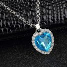 Fashion Charm Rhinestone Heart Shape Vintage Necklace Sky Blue Beautiful #h