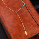 Vintage Boho Ethnic Style Jewelry Hollow Feather Pendant Lady Chain Necklace HS